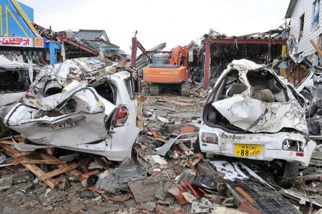 Destruction is seen in the wake of last week's 8.9 magnitude earthquake and tsunami in Ofunato, Iwate prefecture, Japan, on March 17, 2011. UPI/Keizo Mori