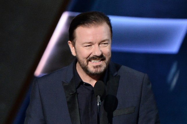 Special Correspondents filmmaker and actor Ricky Gervais appears at the 67th Primetime Emmy Awards on September 20, 2015. File Photo by Ken Matsui/UPI