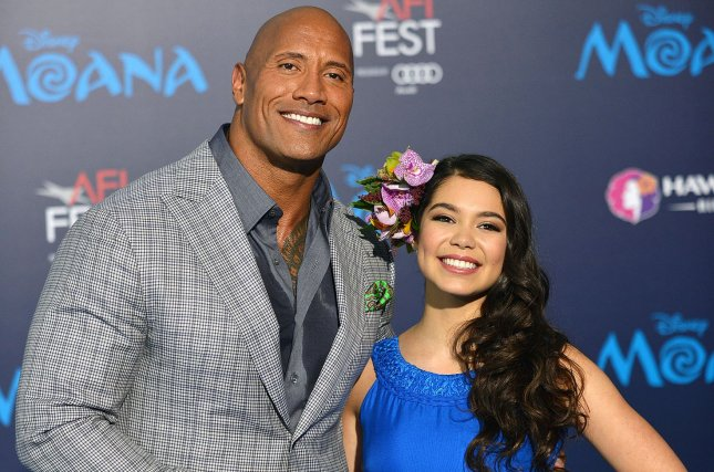 Dwayne Johnson and Auli'i Cravalho arrive at the world premiere of Walt Disney Animation Studios' Moana in Los Angeles on November 14. Photo by Christine Chew/UPI