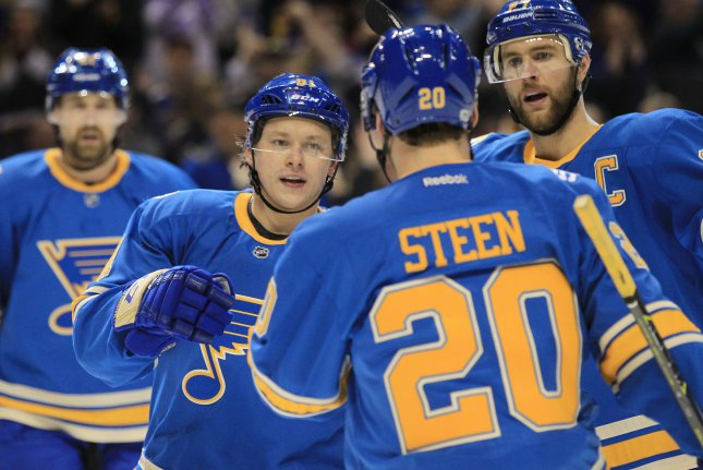 The St. Louis Blues couldn't hold off the Anaheim Ducks, losing 2-1 at the Honda Center on Wednesday. File Photo by Bill Greenblatt/UPI
