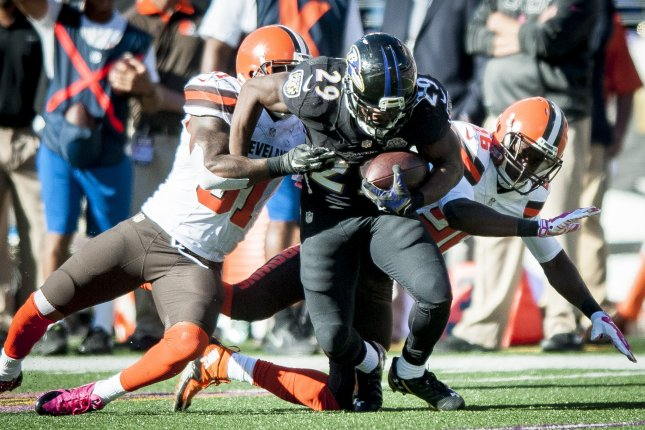 Former Baltimore Ravens' running back, Justin Forsett, runs the ball during fourth quarter action against the Cleveland Browns at M&M Bank Stadium on October 11, 2015 in Baltimore, Maryland. File photo by Pete Marovich/UPI