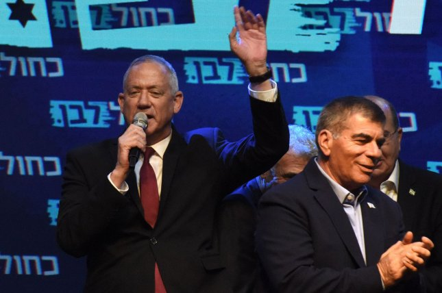 Benny Gantz, leader of the Blue and White Party, speaks to supporters in Tel Aviv, Israel, Wednesday after election polls predicted his party is leading in the national elections. Photo by Debbie Hill/UPI