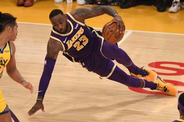 Los Angeles Lakers forward LeBron James scored a game-high 23 points and had 12 assists and six rebounds in a win against the Golden State Warriors Wednesday in Los Angeles. Photo by Jon SooHoo/UPI