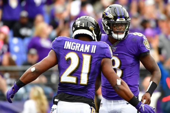 Baltimore Ravens quarterback Lamar Jackson (R) extended the team's winning streak to six games after a 41-7 rout of the Houston Texans on Sunday. File Photo by David Tulis/UPI