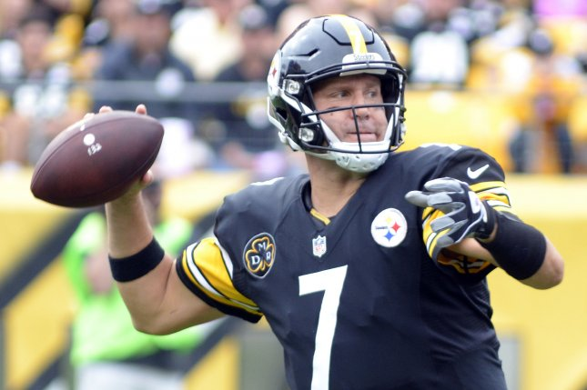 Pittsburgh Steelers quarterback Ben Roethlisberger (7) steps and throws for a completion in the second quarter against the Jacksonville Jaguars at Heinz Field in Pittsburgh on October 8, 2017. File photo by Archie Carpenter/UPI
