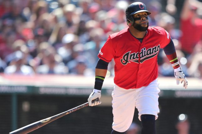 Cleveland Indians designated hitter Carlos Santana is hitting .294 with 22 home runs and 54 RBIs this season. Photo by Aaron Josefczyk/UPI