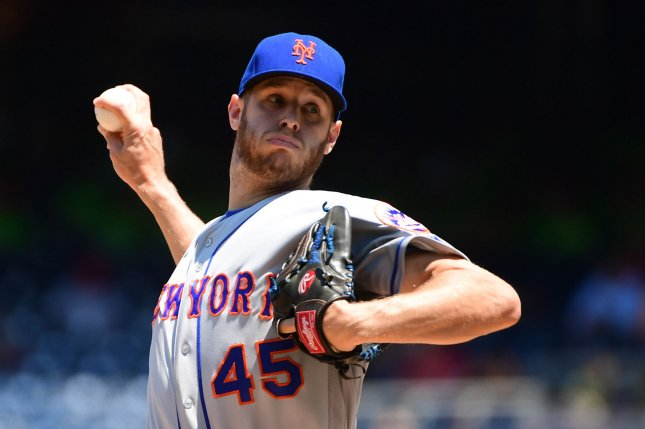 Pitcher Zack Wheeler, seen here playing for the New York Mets in 2019 before signing with the Philadelphia Phillies this year, will not be able to start for the Phillies in Saturday's game against the Florida Marlins due to an injury to his fingernail that occurred while putting on his pants. File Photo by Kevin Dietsch/UPI