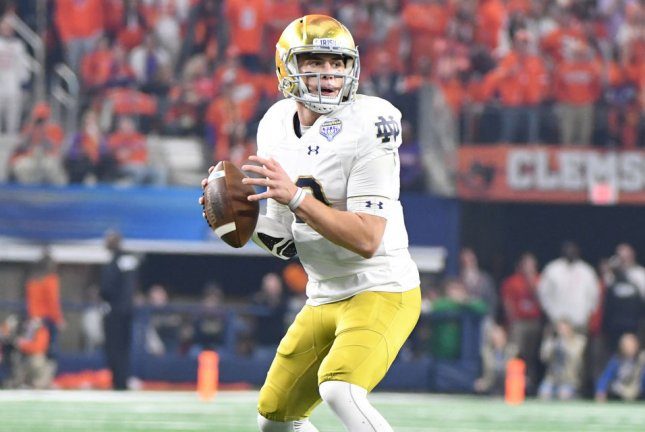 Quarterback Ian Book and Notre Dame look to cement their spot in the College Football Playoff semifinals when they take on Clemson in the ACC Championship game Saturday. File Photo by Ian Halperin/UPI