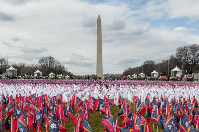 The Washington Monument is seen amid a field of flags representing all 50 states and U.S. territories, on the National Mall in Washington, D.C., on January 18. File Photo by Pat Benic/UPI