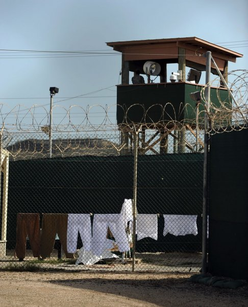 A guard watches over detainees at Naval Station Guantanamo Bay in Cuba on July 8, 2010. UPI/Roger L. Wollenberg