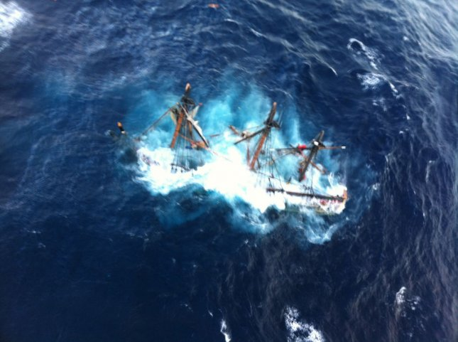 The HMS Bounty, a 180-foot sailboat, is shown submerged in the Atlantic Ocean during Hurricane Sandy approximately 90 miles southeast of Hatteras, N.C., Monday, October 29, 2012. Of the 16-person crew, the Coast Guard rescued 14, recovered one body and is searching for the captain of the vessel. UPI/Tim Kuklewski/Coast Guard