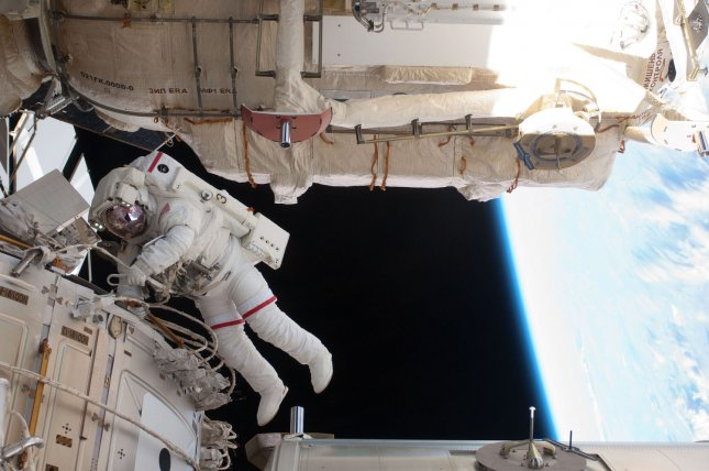 This NASA image taken on May 25, 2011 shows NASA astronaut Andrew Feustel, STS-134 mission specialist, as he participates in the mission's third session of extravehicular activity (EVA) as construction and maintenance continue on the International Space Station. Space Shuttle Endeavour and her 13 man crew are at the International Space Station for a maintenance mission. UPI/NASA