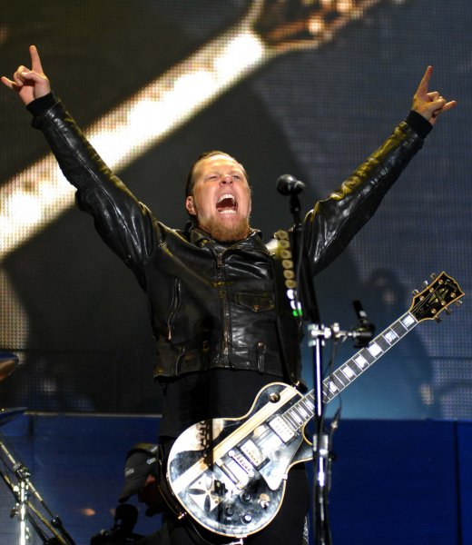 American singer/guitarist James Hetfield performs with Metallica at the Leeds Festival in Leeds on August 22, 2008. (UPI Photo/Rune Hellestad)