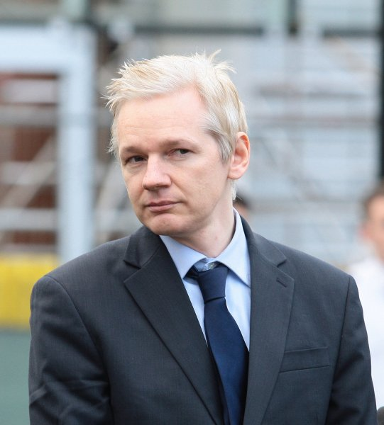 Wikileaks founder Julian Assange speaks to the media after appearing at Belmarsh Magistrates court in Woolwich on January 11, 2011. Assange was appearing court today to fight against his extradition to Sweden where he is sought for questioning over alleged sex crimes. UPI/Hugo Philpott
