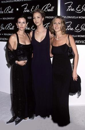 FLASHBACK: Courtney Cox, Lisa Kudrow and Jennifer Aniston at the 10th Annual Fire and Ice Ball at the Beverly Hilton Hotel December 11, 2000. (rlw/Star Max/Russ Einhorn/UPI)