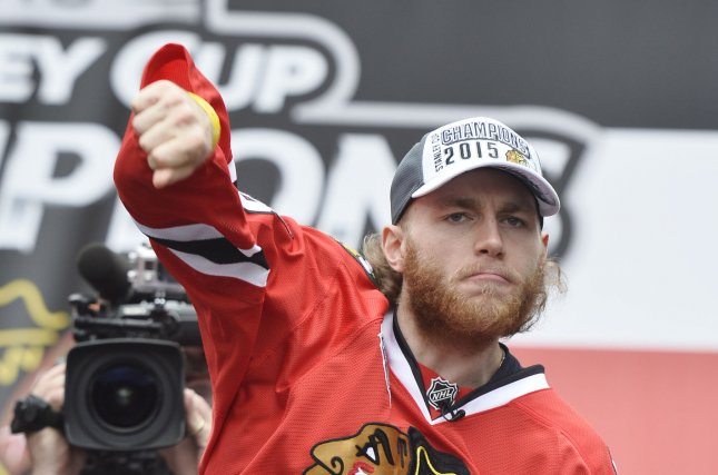 Chicago Blackhawks' Patrick Kane celebrates at a Stanley Cup victory rally at Soldier Field on June 18, 2015 in Chicago. The Blackhawks defeated the Tampa Bay Lightning 4-2 games to win the Stanley Cup. Photo by Brian Kersey/UPI