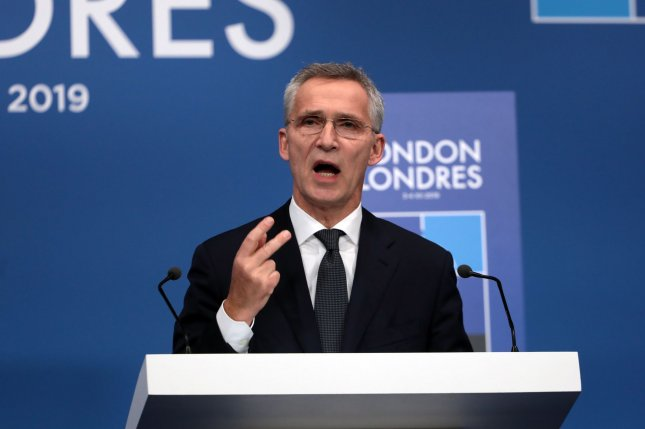 NATO Secretary General Jens Stoltenberg speaks to reporters at the 70th NATO summit at the Grove in Hertfordshire, Britain, on December 4, 2019. File Photo by Hugo Philpott/UPI