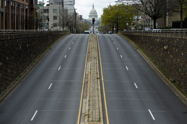An empty North Capitol Street is seen near the U.S. Capitol in Washington, D.C., on April 1, after the city issued a stay-home order to limit the spread of the coronavirus. File Photo by Kevin Dietsch/UPI
