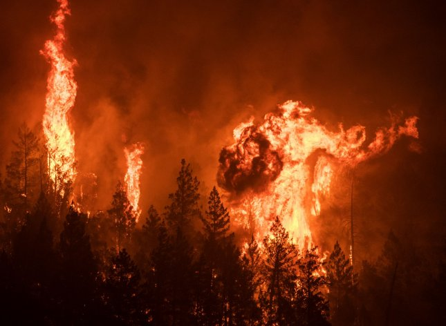 Wildfires in the Western United States incurred more than $20 billion in damages and claimed the lives of more than 40 people. Photo by Terry Schmitt/UPI