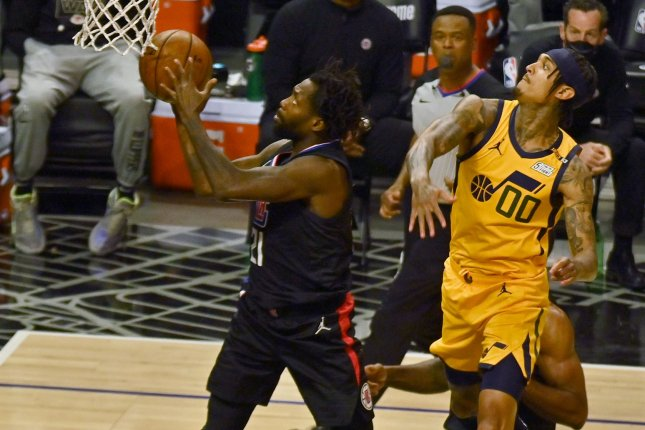 Former Los Angeles Clippers guard Patrick Beverley (21), shown June 14, 2021, was initially traded to the Memphis Grizzlies earlier this week. File Photo by Jim Ruymen/UPI