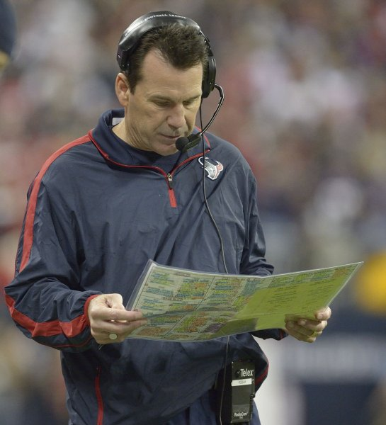 Houston Texans Coach Gary Kubiak, shown during a game last January, suffered a minor stroke during the game last week. He is expected to recover but it is unclear how long it will be before he can return to the team. UPI/Wilf Thorne