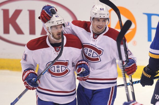 Paul Byron (L) recorded a goal and an assist for Montreal as the Canadiens recording a 4-1 win over the Ottawa Senators on Sunday night at the Bell Centre. File Photo by Bill Greenblatt/UPI