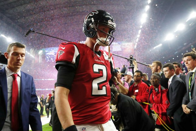 Atlanta Falcons quarterback Matt Ryan (2) heads off the field after losing in overtime to the New England Patriots in Super Bowl LI at NRG Stadium on February 5 in Houston, Texas. File photo by John Angelillo/UPI