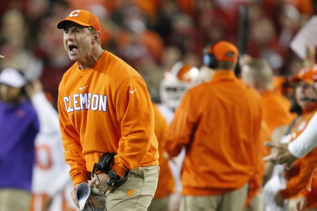 Head coach Dabo Swinney of the Clemson Tigers reacts on the field in the 4th quarter against the Alabama Crimson Tide at the 2017 College Football Playoff National Championship in Tampa Florida on January 9, 2017. The Clemson Tigers defeated the Alabama Crimson Tide 35-31. Photo by Mark Wallheiser/UPI