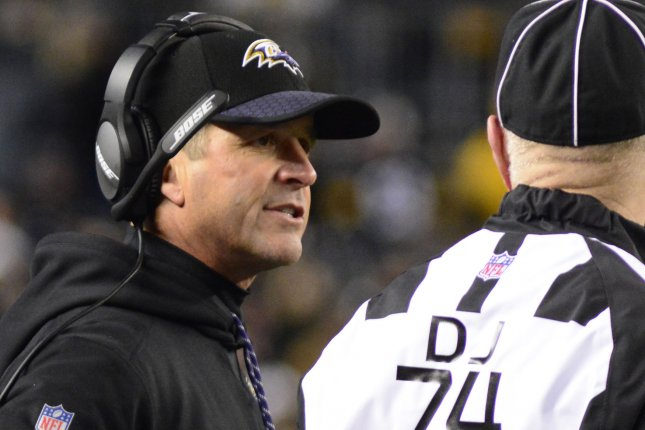 Baltimore Ravens head coach John Harbaugh talks with the Head Linesman Derick Bowers during the first half of the Pittsburgh Steelers 39-38 win over the Baltimore Ravens at Heinz Field in Pittsburgh on December 10, 2017. File photo by Archie Carpenter/UPI