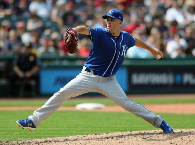 Danny Duffy and the Kansas City Royals take on the TExas Rangers on Thursday. Photo by Aaron Josefczyk/UPI