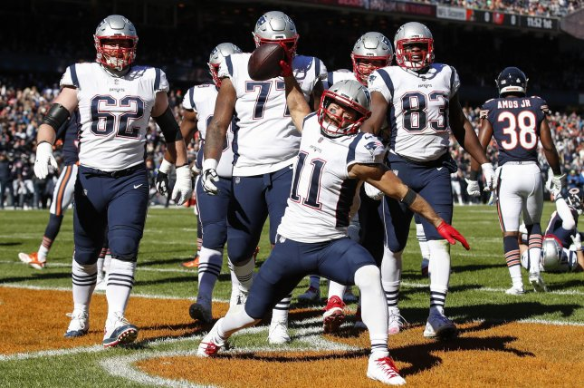 New England Patriots wide receiver Julian Edelman (11) reacts after scoring a touchdown against the Chicago Bears during the first half on October 21 at Soldier Field in Chicago. Photo by Kamil Krzaczynski/UPI