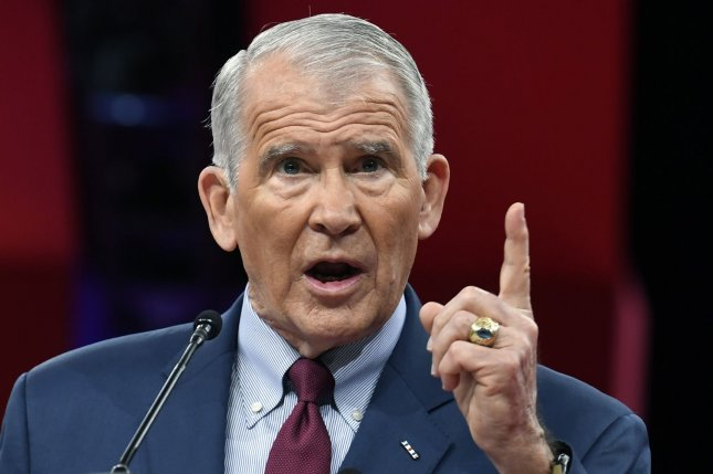 Lt. Col. Oliver North of the National Rifle Association, makes remarks at the Conservative Political Action Conference (CPAC) Thursday. Photo by Mike Theiler/UPI