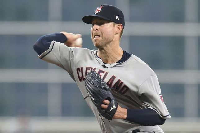 Cleveland Indians starting pitcher Corey Kluber allowed three runs before exiting with an injury against the Miami Marlins on Wednesday in Miami. File Photo by Trask Smith/UPI