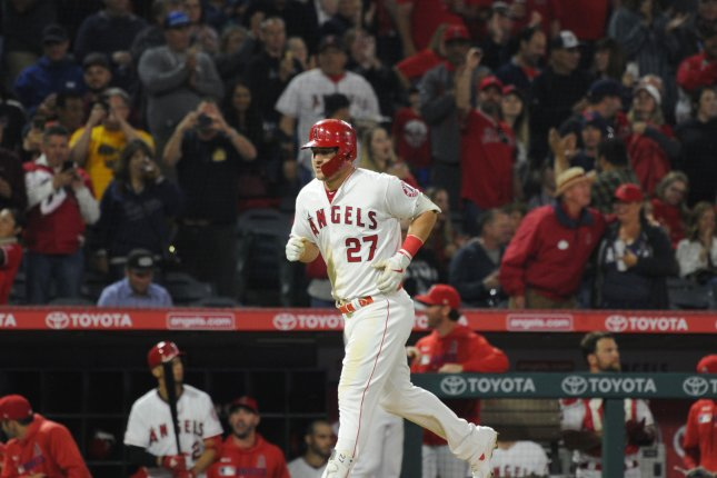 Angels outfielder Mike Trout has 10 home runs this season. File Photo by Lori Shepler/UPI