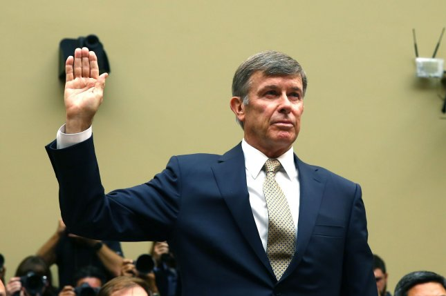 Acting Director of National Intelligence Joseph Maguire takes the oath prior to testifying before the House intelligence committee at a hearing on Capitol Hill on Thursday on a whistle-blower complaint of alleged misconduct by President Donald Trump. Photo by Tasos Katopodis/UPI