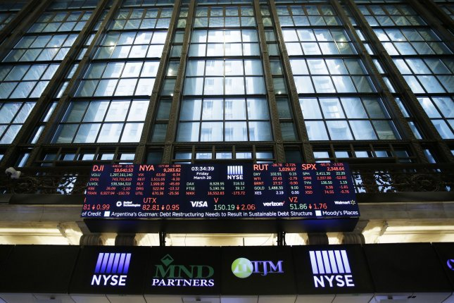 A board is seen last Friday on the floor of the New York Stock Exchange, on Wall Street in New York City. U.S. stocks closed with a third straight day of gains Thursday. File Photo by John Angelillo/UPI