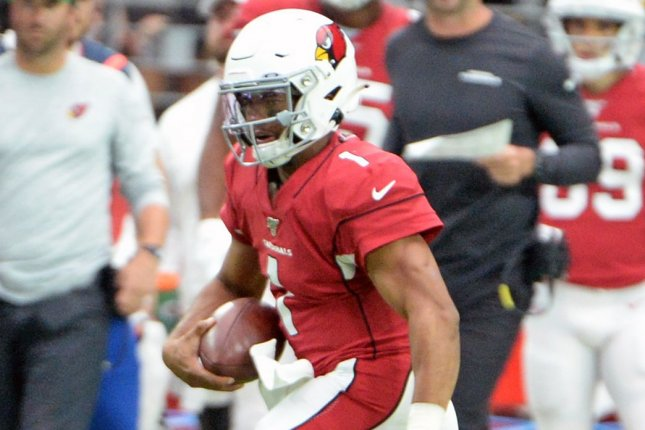 Arizona Cardinals quarterback Kyler Murray completed just nine passes, but had two passing scores and a rushing touchdown in a win over the Dallas Cowboys on Monday in Arlington, Texas. File Photo by Art Foxall/UPI