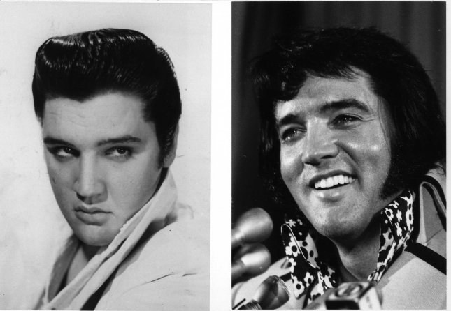 A combo file photograph of the King, shows Elvis Presley in 1956 as a young, slender and agile, when he did what he called jiggling while he sang. On the right is how he looked in 1972 in New York. Elvis died on August 16, 1977. Today marks the 29th anniversary of his death. (UPI Photo/FILE)