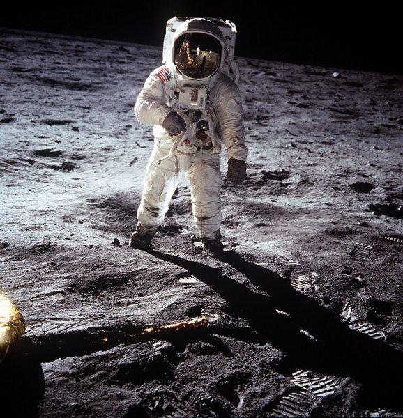 Astronaut Edwin E. Aldrin, Jr., lunar module pilot of the first lunar landing mission, poses for a photograph during Apollo 11 Extravehicular Activity (EVA) on the lunar surface on July 20, 1969. Astronaut Neil A. Armstrong, commander, took this picture with a 70mm Hasselblad lunar surface camera. NASA celebrates the 50th anniversary of the Space Age marked by the October 4, 1957 launch of Sputnik, the world's first artificial satellite, made by the Soviet Union. (UPI Photo/NASA/FILES)
