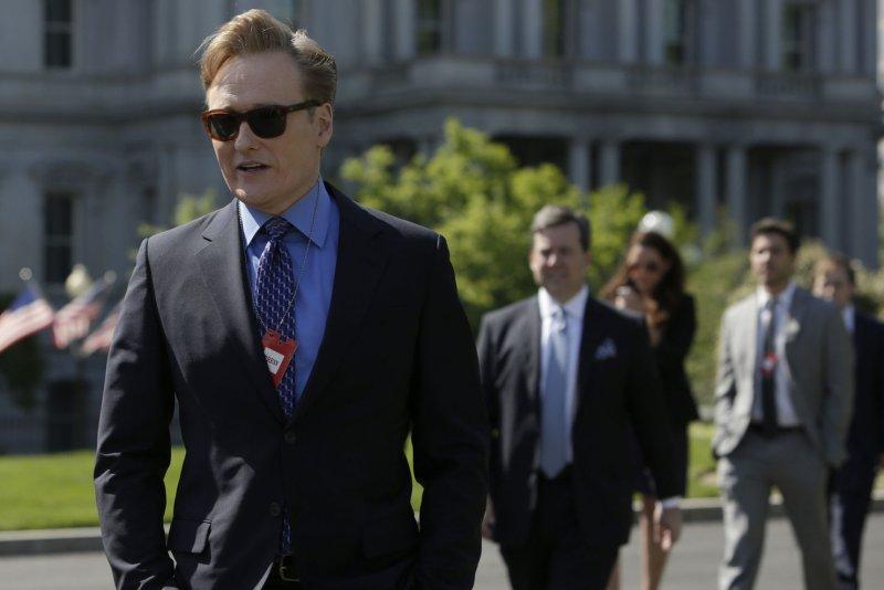 Television host Conan O'Brien takes a tour of The White House. UPI/Chris Kleponis/Pool