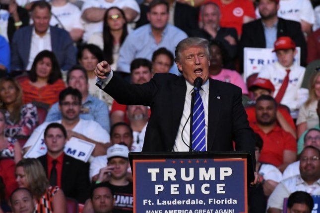 Republican presidential nominee Donald Trump speaks to supporters in Ft Lauderdale, Fla., on Aug. 10. Trump's campaign is preparing to make its first advertising purchase of the general election in five battleground states. Photo by Gary I Rothstein/UPI