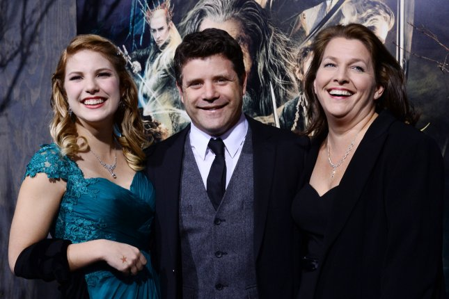 Stranger Things newbie Sean Astin (C) seen with his wife Christine Astin (R) and their daughter Ali Astin (L) at the premiere of The Hobbit: The Desolation of Smaug in Los Angeles on December 2, 2013. File Photo by Jim Ruymen/UPI