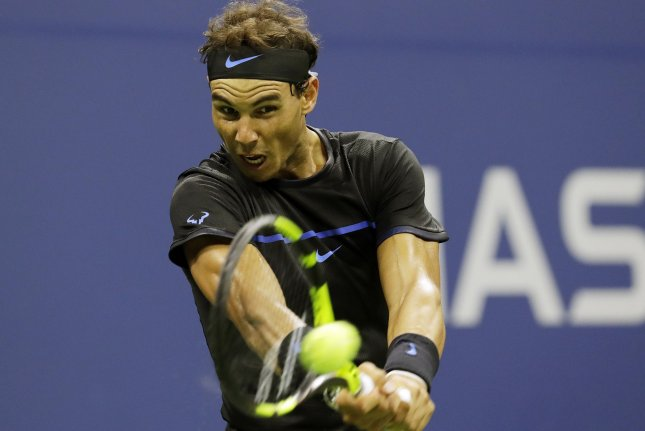 Rafael Nadal of Spain hits a backhand in his straight sets victory over Andrey Kuznetsov of Russia in Arthur Ashe Stadium in the 3rd round at the 2016 US Open Tennis Championships at the USTA Billie Jean King National Tennis Center in New York City on September 2, 2016. Photo by John Angelillo/UPI