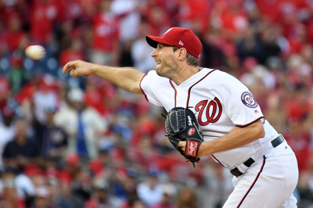 Washington Nationals starting pitcher Max Scherzer delivers a pitch. File photo by Pat Benic/UPI