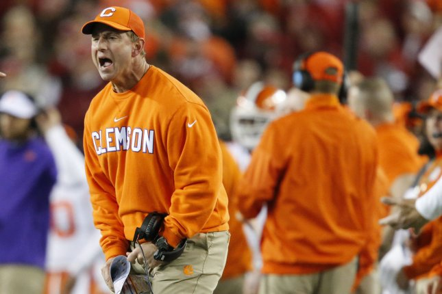 Head coach Dabo Swinney of the Clemson Tigers reacts on the field in the 4th quarter against the Alabama Crimson Tide at the 2017 College Football Playoff National Championship on January 9 in Tampa, Fla. File photo by Mark Wallheiser/UPI