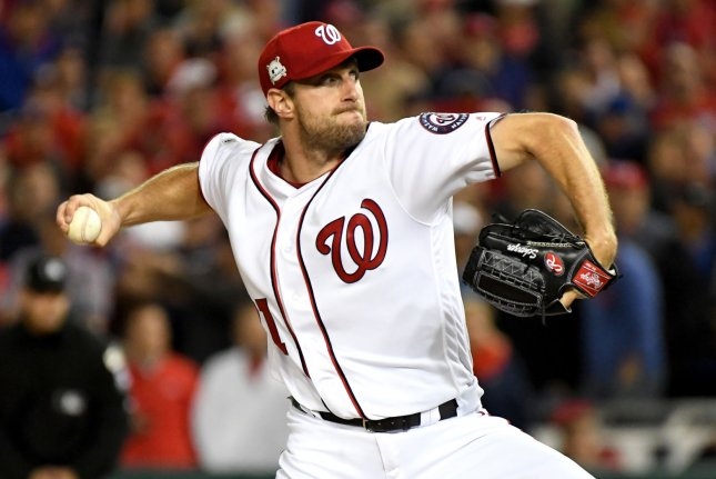 Washington Nationals relief pitcher Max Scherzer throws a pitch in the fifth inning against the Chicago Cubs. File photo by Pat Benic/UPI