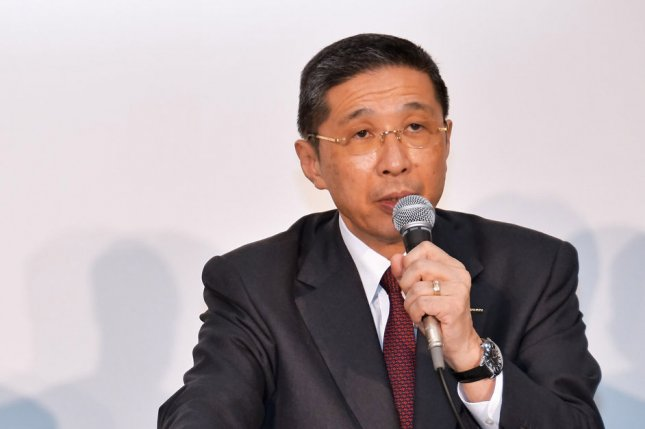 Nissan chief executive officer Hiroto Saikawa, shown here during a news conference in Japan in March, announced Monday that he is resigning, effective Sept. 16. Photo by Keizo Mori/UPI