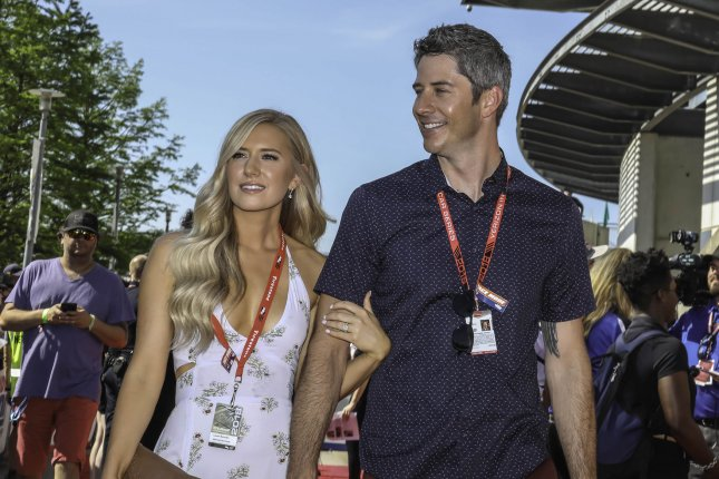 Lauren (L) and Arie Luyendyk Jr. announced this weekend that they have lost a pregnancy. File Photo by Edwin Locke/UPI