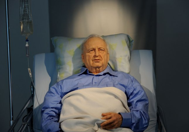A life-size art installation of former Israeli Prime Minister Ariel Sharon lying comatose in a hospital bed, by Israeli artist Noam Braslavsky, is displayed before the opening in the Kishon Gallery in Tel Aviv, October 19, 2010. Ariel Sharon has been in a coma since suffering a massive stroke in January 2006. UPI/Debbie Hill