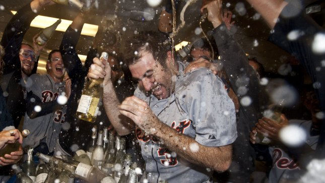 Detroit Tigers Justin Verlander is doused with champagne in the locker room after winning the American League Divisional Series against the Oakland A's at the Oakland Coliseum in Oakland, California on October 11, 2012. Verlander shut out the A's 6-0. UPI/Terry Schmitt